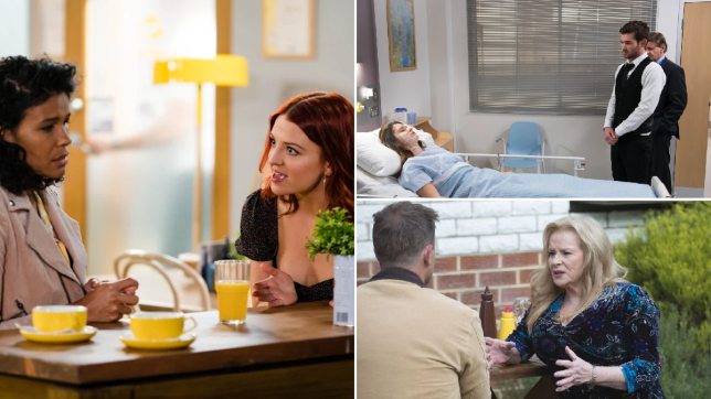 Audrey and Nicolette, Scarlett and Ned, Kyle and Sheila in Neighbours
