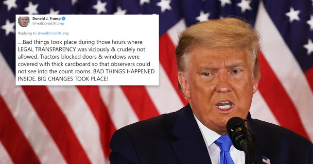 Trump claims 'bad things happened' in counting rooms as Biden closes in on win