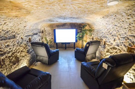 home cinema inside cave
