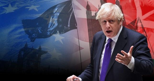 Graphic of Boris Johnson with a European Union flag