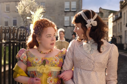 Nicola Coughlan as Penelope Featherington and Claudia Jessie as Eloise Bridgerton in Bridgerton