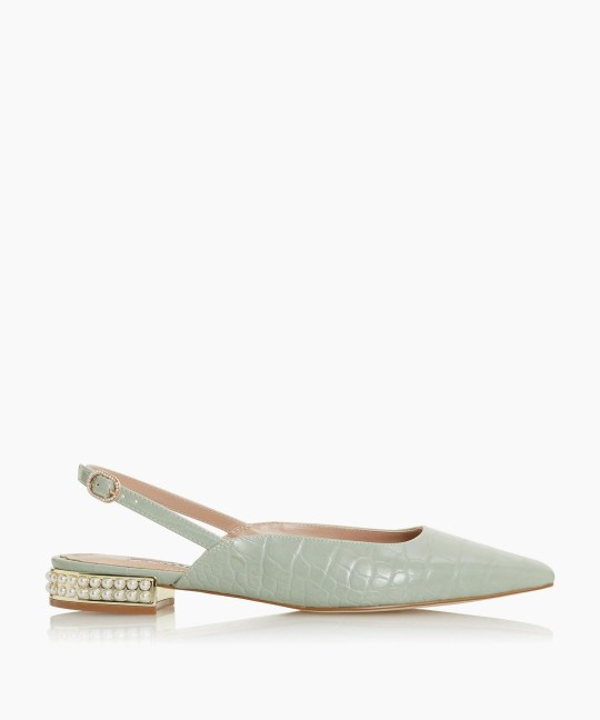 Mint flats with embellished heels