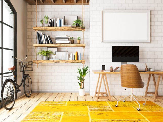 Home Office with Workplace and Bicycle
