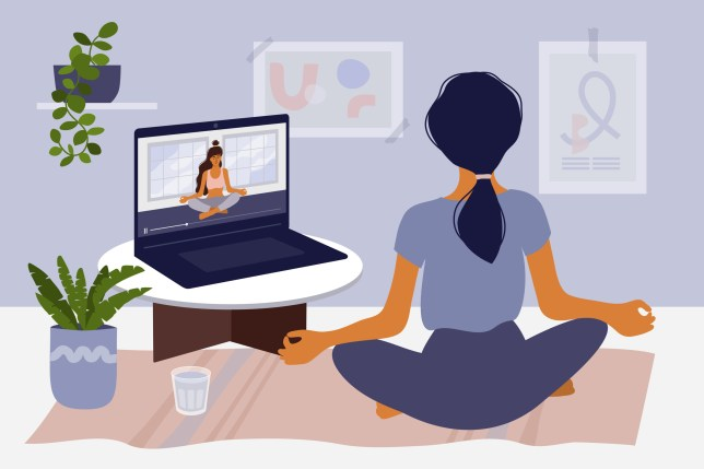 Stay home concept with girl watching online classes on laptop and practicing yoga