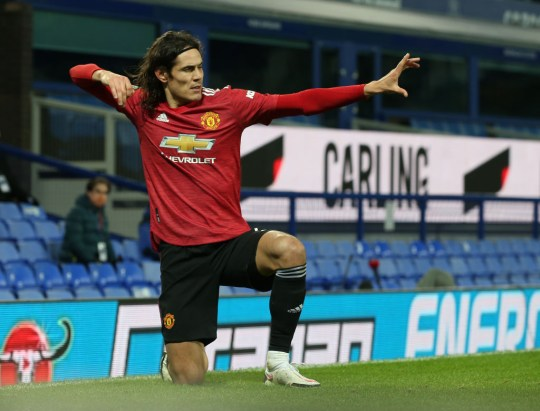 Edinson Cavani helped Manchester United beat Everton and reach the EFL Cup final