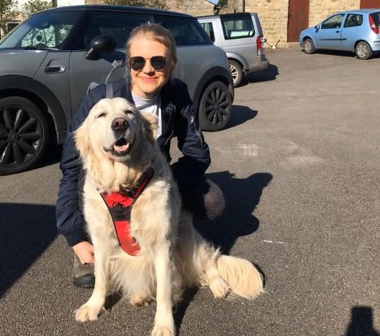 jess flory with a dog