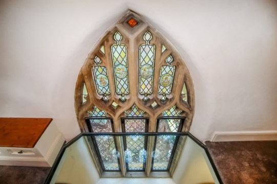 stained glass windows in converted chapel home