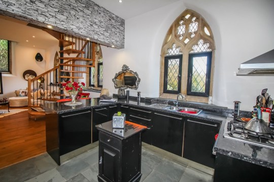 the kitchen of converted chapel home