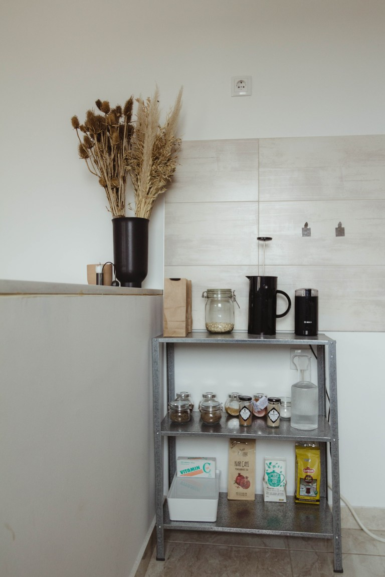 coffee station and food on shelves