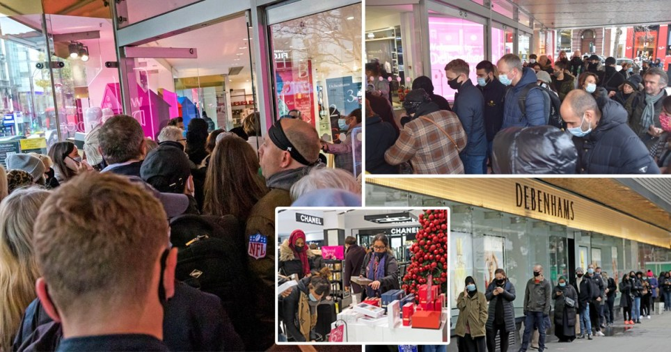 People queue to get into the flagship Debenhams store in London's Oxford Street