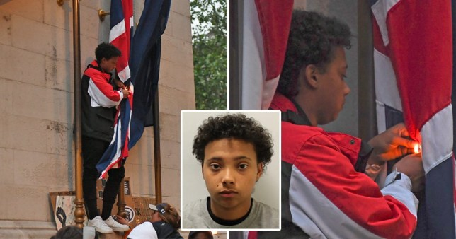 Astrophel Sang, 19, was filmed attempting to set the Union Flag on fire during anti-racism protests in Westminster has avoided jail.