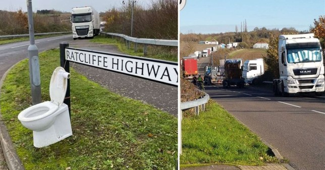 Villagers have set up a toilet next to a roadside in Kent because they say lorry drivers are constantly defecting there