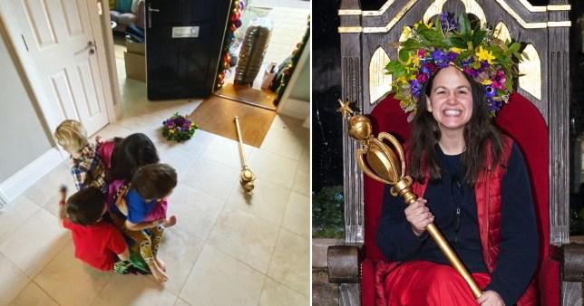 Giovanna Fletcher was welcomed home by her children