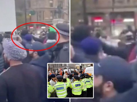 Moment London police officer appears to punch 'peaceful protester' in the face
