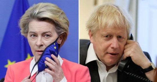 European Commission President Ursula von der Leyen talks with British Prime Minister Boris Johnson.