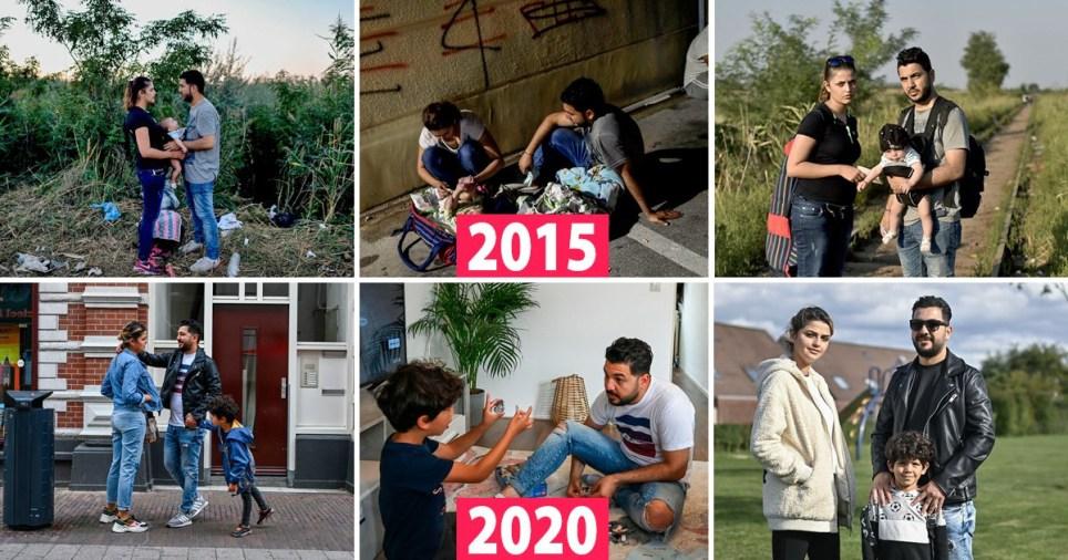 Les photos montrent des images avant et après de la famille pendant leur voyage et aux Pays-Bas