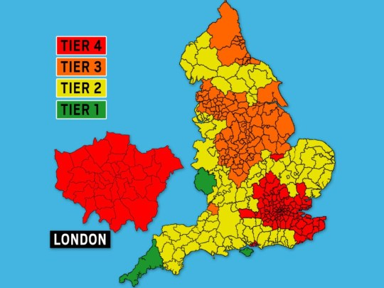Map showing the planned tiers for the UK