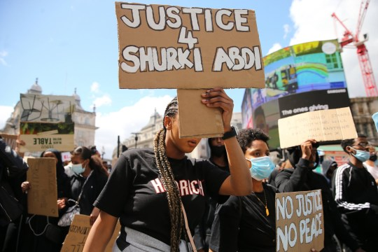 LONDON, UNITED KINGDOM - JUNE 27: Protesters holding banners during a Black Lives Matter protest asking for justice for the death of Shukri Abdi, march through central London, United Kingdom on Saturday June 27, 2020. The body of 12-year-old Shukri Abdi was found in the River Irwell in Bury on 27 June, 2019. (Photo by Isabel Infantes/Anadolu Agency via Getty Images)
