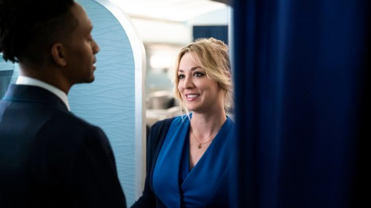 Kaley Cuoco appearing in The Flight Attendant