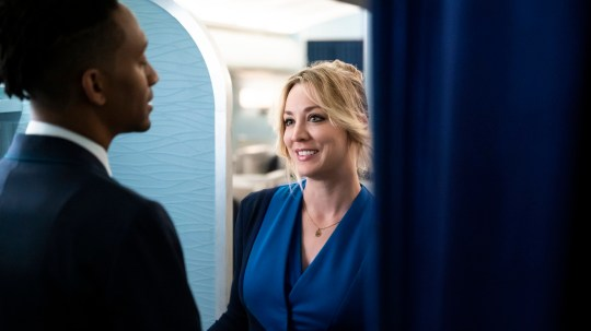 Griffin Matthews and Kaley Cuoco in a scene from The Flight Attendant