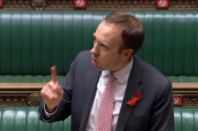 Health Secretary Matt Hancock speaks in the House of Commons