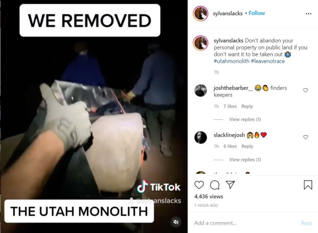 from tiktok of @sylvanslacks who claims to be part of the crew which removed the monolith from the utah desert
