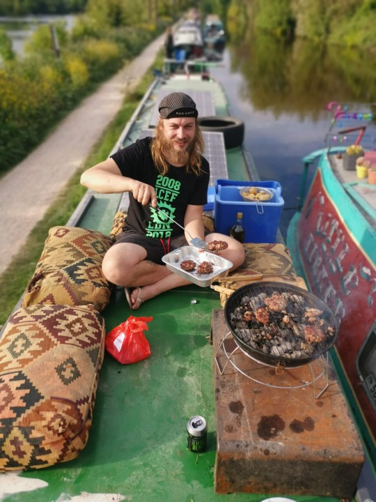Will Philips cooking on the narrowboat