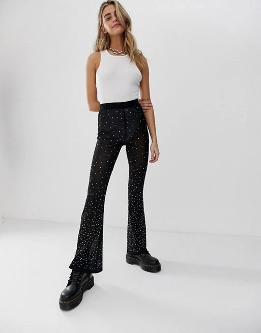 Woman advertising trousers
