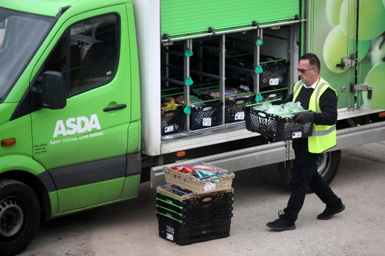 An Asda employee makes a delivery in Keele