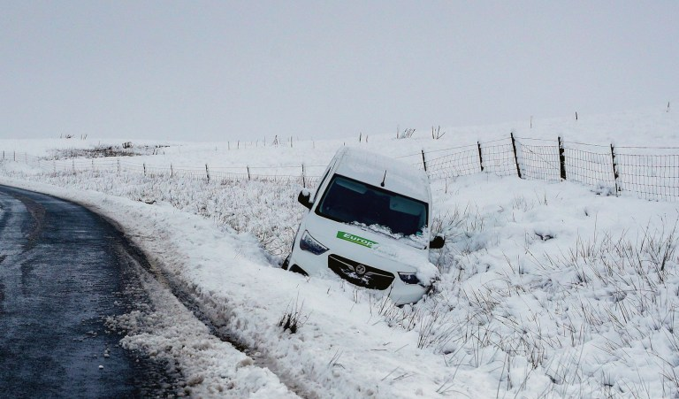 A van is stuck on a snowy road near Newby Heade, North Yorkshire