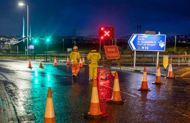 Queensferry Crossing is closed during rush hour due to falling ice from the cables as snow causes chaos on Friday morning. Dec 4 2020