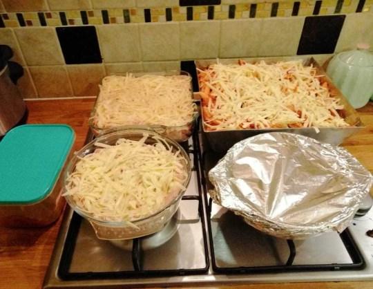 Tuna pasta bake and corn beef hash