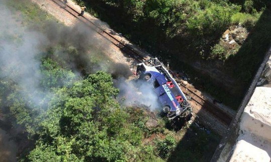 A tour bus in Brazil fell off a bridge and left at least 11 people dead and 29 injured.