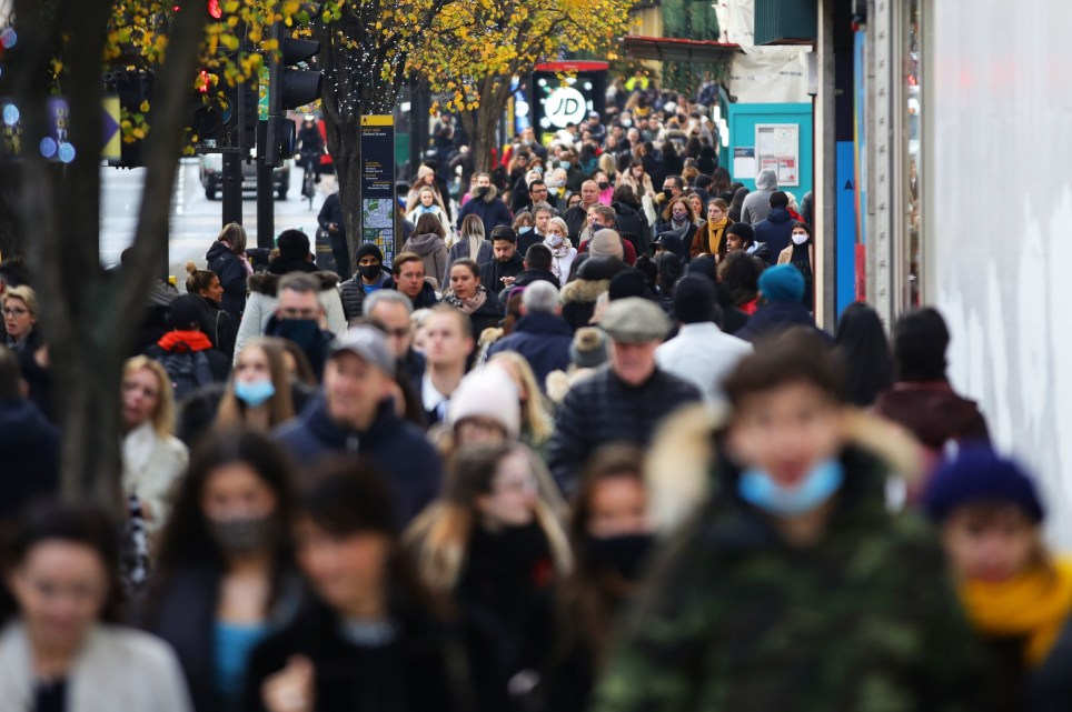 Shoppers on Oxford Street in London on the first weekend following the end of the second national lockdown in England, with coronavirus restrictions being relaxed.