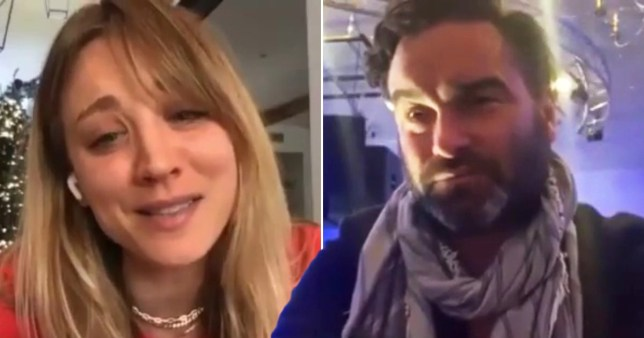 Kaley Cuoco and Johnny Galecki appear in video call to children's home