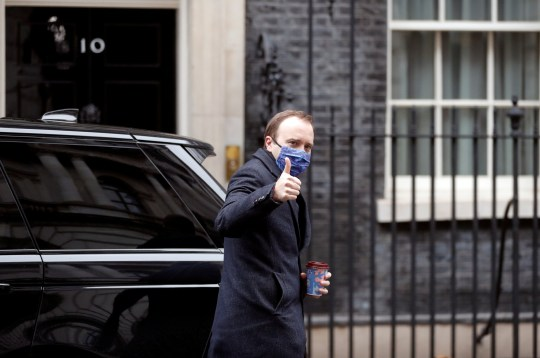 Britain's Health Secretary Matt Hancock gives a thumbs up as he arrives at Downing Street in London, Britain, December 9, 2020. REUTERS/Peter Nicholls