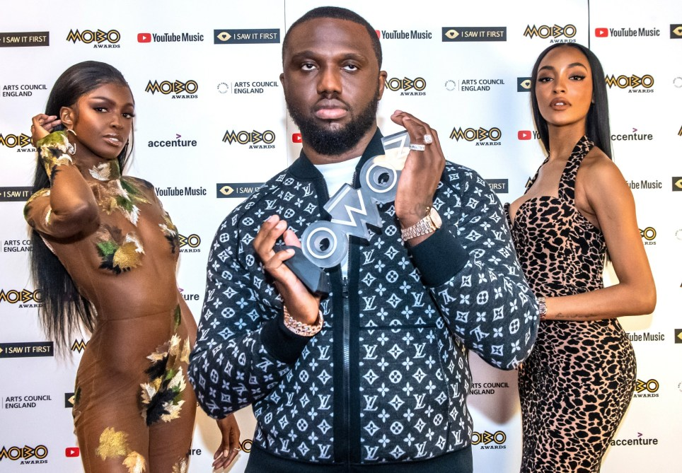 Headie One, Leomie Anderson and Jourdan Dunn at the MOBO Awards 2020