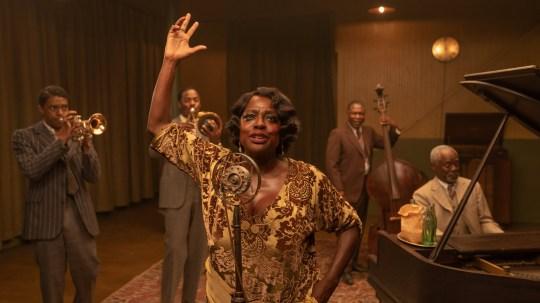 Ma Rainey's Black Bottom (2020): (L to R) Chadwick Boseman as Levee, Colman Domingo as Cutler, Viola Davis as Ma Rainey, Michael Potts as Slow Drag, and Glynn Turman as Toldeo.