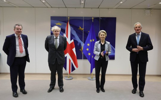 09/12/2020. Brussels, United Kingdom. Boris Johnson meets with Ursula von Der Leyen. Brussels. The Prime Minister Boris Johnson with his UK's chief negotiator David Frost with Ursula von Der Leyen and Michel Barnier after their dinner at the European Commission in Brussels to continue with Brexit talks. Picture by Andrew Parsons / No 10 Downing Street