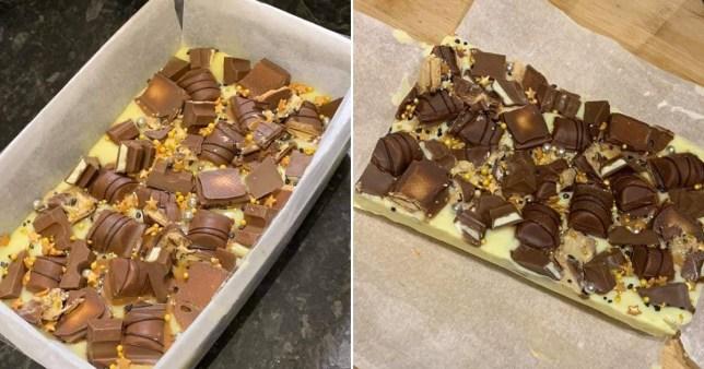 photos of the fudge in a tin