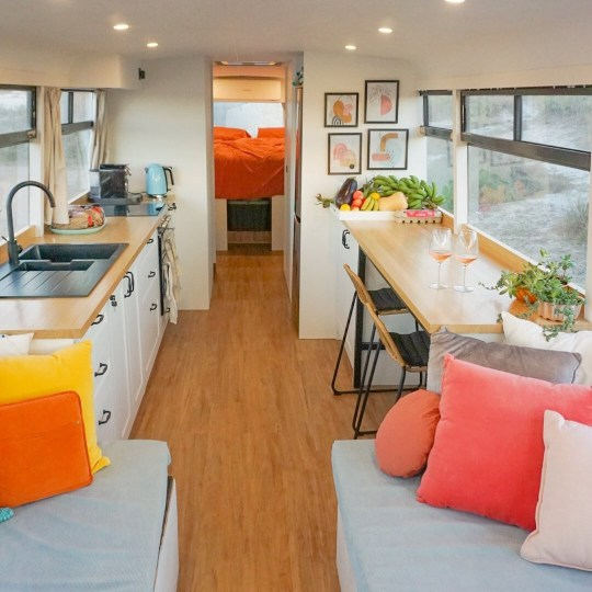 Couple ditch renting to show outdated schoolbus into their dream house