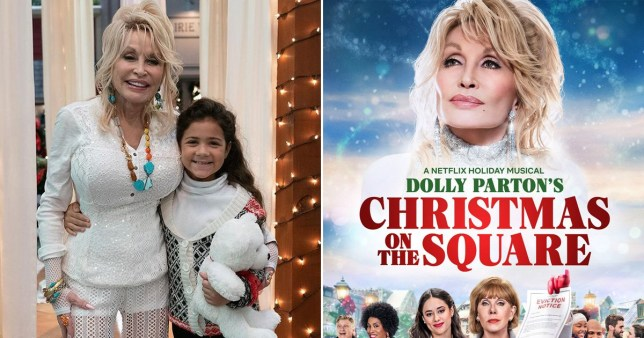 Dolly Parton and a young co-star from Christmas on the square