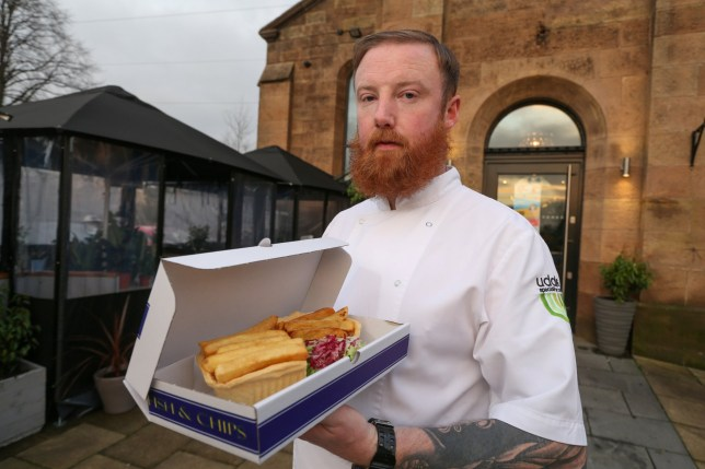 A restaurant chef and his fish and chip pie creation