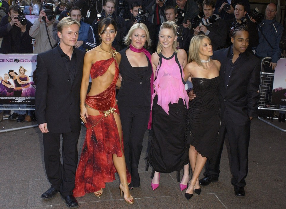 LONDON - APRIL 7: (L-R) S Club 7 members, Jon Lee, Tina Barrett, Jo O'meara, Hannah Spearritt, Rachel Stevens and Bradley Mcintosh arrives at the UK film premiere of S Club's 'Seeing Double' April 7, 2003 at the Warner Westend Cinema, London, England. (Photo by Bruno Vincent/Getty Images)