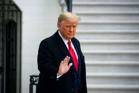 President Trump waving