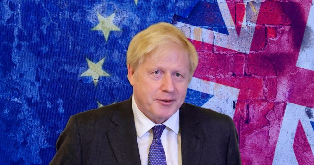 Boris Johnson infront of a UK and EU flag