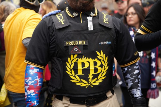 Washington, DC - December 11, 2020, Washington Dc, U.S.A: A Proud Boy supporter wears goggles to protect against pepper spray. The Proud Boys clashed with left-side protestors in Washington DC during a protest in support of President Donald Trump. (Credit Image: ?? Allison Dinner/ZUMA Wire) Pictured: Proud Boys Protestors BACKGRID USA 11 DECEMBER 2020 USA: +1 310 798 9111 / usasales@backgrid.com UK: +44 208 344 2007 / uksales@backgrid.com *UK Clients - Pictures Containing Children Please Pixelate Face Prior To Publication*