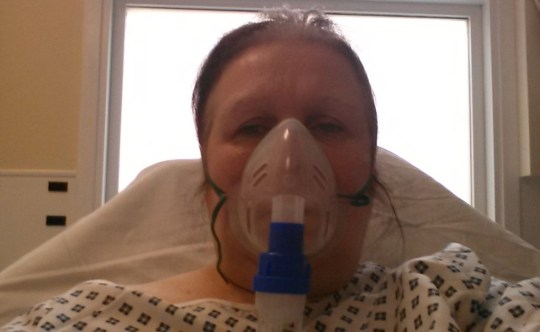 Anne in hospital after an asthma attack