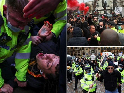 Violent clashes break out at anti-vaxx protest on day mutant Covid is revealed