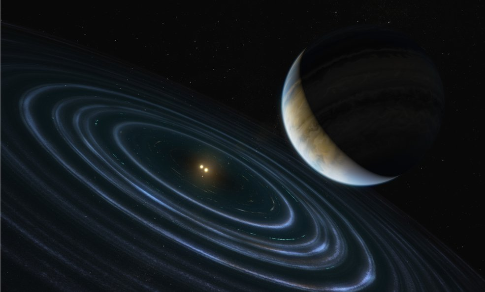 An artist's impression of planet HD 106906 b with its binary star system in the background (Nasa)